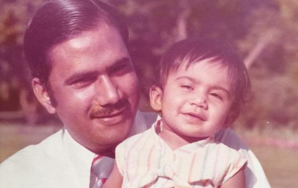 Editor Ayesha Mattu and her father.